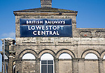 British railways sign on Lowestoft Central Station, Lowestoft, Suffolk, England