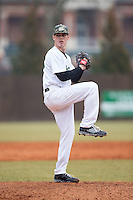 Charlotte 49ers starting pitcher Josh Maciejewski (38) in action against the Akron Zips at Hayes Stadium on February 22, 2015 in Charlotte, North Carolina.  The Zips defeated the 49ers 5-4.  (Brian Westerholt/Four Seam Images)