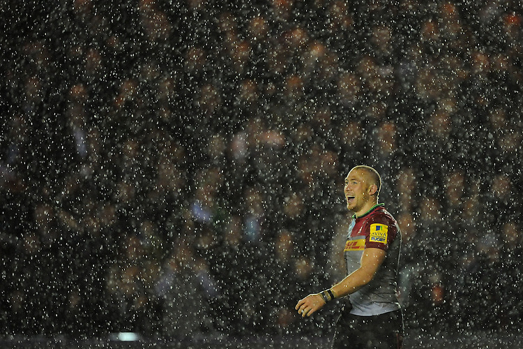 Mike Brown of Harlequins enjoying the moment after the winning try in the final minutes of the match during the Premiership Rugby match between Harlequins and Saracens - 09/01/2016 - Twickenham Stoop, London<br /> Mandatory Credit: Rob Munro/Stewart Communications
