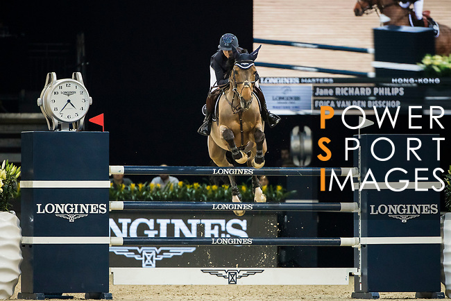 Jane Richard Philips of Switzerland riding Foica van den Bisschop competes in the Longines Grand Prix during the Longines Masters of Hong Kong at AsiaWorld-Expo on 11 February 2018, in Hong Kong, Hong Kong. Photo by Ian Walton / Power Sport Images