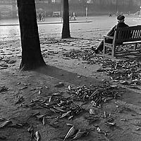 Ein Mann sitzt im beginnenden Herbst in einer Stadt auf einer Bank, Deutschland 1930er. A man sitting on a bench in beginning autumn, Germany 1930s.