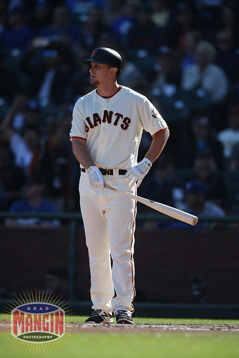 SAN FRANCISCO, CA - SEPTEMBER 28:  Alex Dickerson #8 of the San Francisco Giants bats against the Los Angeles Dodgers during the game at Oracle Park on Saturday, September 28, 2019 in San Francisco, California. (Photo by Brad Mangin)