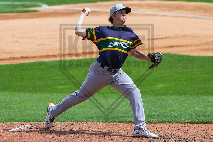 APPLETON - August 2014: Sam Bragg (14) of the Beloit Snappers during a game against the Wisconsin Timber Rattlers on August 26th, 2014 at Fox Cities Stadium in Appleton, Wisconsin.  (Photo Credit: Brad Krause)