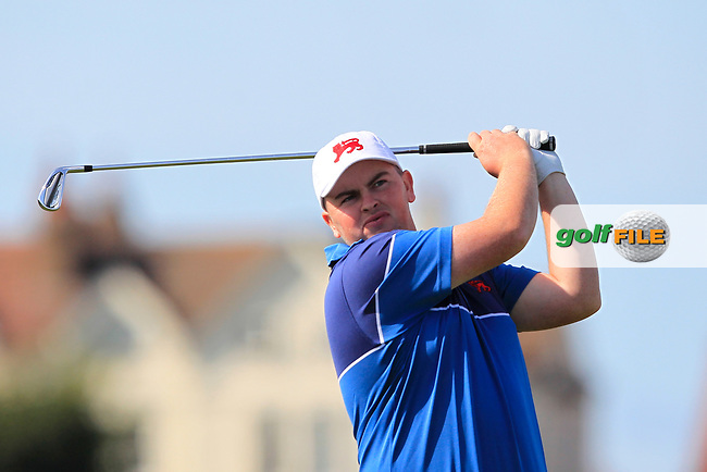 Caolan Rafferty (GB&I) on the 2nd tee during Day 1 Singles of the Walker Cup at Royal Liverpool Golf CLub, Hoylake, Cheshire, England. 07/09/2019.<br /> Picture: Thos Caffrey / Golffile.ie<br /> <br /> All photo usage must carry mandatory copyright credit (© Golffile | Thos Caffrey)