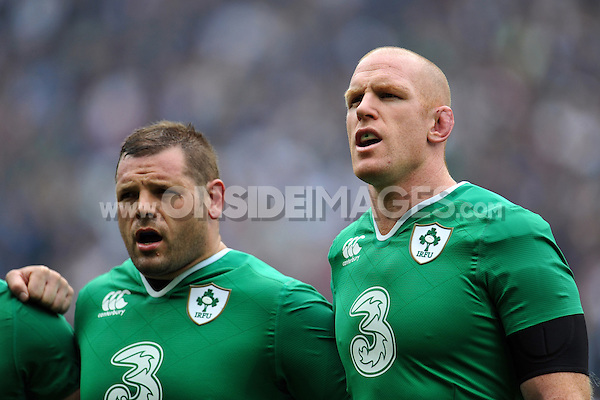 Mike Ross and Paul O'Connell of Ireland sing during the anthems. QBE International match between England and Ireland on September 5, 2015 at Twickenham Stadium in London, England. Photo by: Patrick Khachfe / Onside Images