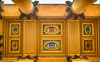 BNPS.co.uk (01202 558833)<br /> Pic: BlenheimPalace/BNPS<br /> <br /> Artist Eric GIll painted the portico of Blenheim with the eyes of Gladys Deacon and the 9th Duke.<br /> <br /> Let's Misbehave - A fascinating insight into the heady world of the upper classes in the roaring twenties has opened at Blenheim Palace.<br /> <br /> The 9th Duke of Marlborough and his second wife, American intellectual Gladys Deacon, were lavish hosts at the baroque Oxfordshire Palace.<br /> <br /> Their frequent house parties in a time of great social, artistic and political change were attended by friends as diverse as Winston Churchill, Edith Sitwell, Jacob Epstein and Bloomsbury set founders Lytton Strachey and Virginia Woolf.<br /> <br /> The exhibition showcases their lavish lifestyles in a series of scenes within the Palaces elegant State Rooms.<br /> <br /> Actors portraying the leading characters interact with the visiting public to give a flavour of the famously decadent decade.
