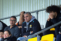 Stephen Bachop and Eric Rush watch the rugby match between New Zealand Schools Barbarians and Fiji Schools at Jerry Collins Stadium in Porirua, Wellington, New Zealand on Monday, 1 October 2018. Photo: Dave Lintott / lintottphoto.co.nz