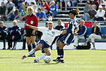 19 June 2004: Aly Wagner (10) and Joy Fawcett (14). The Washington Freedom tied the Boston Breakers 3-3 at the National Sports Center in Blaine, MN in Womens United Soccer Association soccer game featuring guest players from other teams.