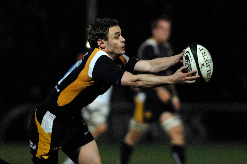 Photo: Richard Lane..Worcester Warriors v Newcastle Falcons. Guinness Premiership. 16/03/2007. .Warriors' James Brown catches the ball.