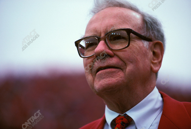 Warren Buffett, CEO of Berkshire-Hathaway, at a University of Nebraska vs. Texas football game. Lincoln, Nebraska, October 1998.