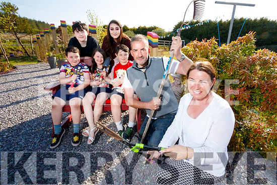 Martin Greenwood Garden designer for RTE's Supergarden Programme with the Crean Family Carol, Aaron, Ruby, Conor, Ryan and Jade Crean.