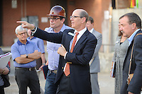 NWA Democrat-Gazette/ANDY SHUPE<br /> Peter Lane, president and CEO of the Walton Arts Center, speaks Tuesday, Sept. 22, 2015, during a tour of the new administrative offices being constructed as part of Fayetteville&rsquo;s $12.3 million municipal parking deck project. The arts center contributed more than $2.2 million to the project which will house administrative staff and include additional back-of-house space for the performing arts center. Visit nwadg.com/photos to see more photographs from the tour.