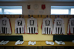 Stafford Rangers 2 Chasetown 1, 26/12/2015. Marston Road, Northern Premier League. Home team strips hanging up in the dressing room at Marston Road, home of Stafford Rangers before they played local rivals Chasetown in a Northern Premier League first division south fixture. The club has played at Marston Road since 1896 and achieved prominence in the 1970s and 1980s as one of England's top non-League teams. League leaders Stafford won this match 2-1, despite having a man sent off, watched by a season's best attendance of 978. Photo by Colin McPherson.