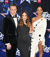 Roman Kemp. Myleene Klass and Rochelle Humes at the Global Awards 2019, Hammersmith Apollo (Eventim Apollo), Queen Caroline Street, London, England, UK, on Thursday 07th March 2019.<br /> CAP/CAN<br /> &copy;CAN/Capital Pictures