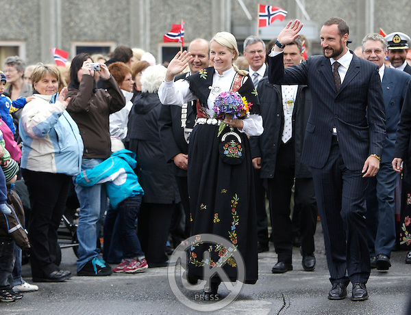 "Crown Prince Haakon, and Crown Princess Mette-Marit of Norway on a three day visit to "" North Troms "", in Northern Norway,  visit Skjaervoy."
