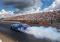 Sep 2, 2018; Clermont, IN, USA; NHRA pro stock driver Shane Tucker does a burnout during qualifying for the US Nationals at Lucas Oil Raceway. Mandatory Credit: Mark J. Rebilas-USA TODAY Sports