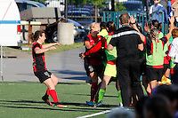 Rochester, NY - Saturday June 11, 2016: Western New York Flash forward Makenzy Doniak (3) celebrates first NWSL goal during a regular season National Women's Soccer League (NWSL) match between the Western New York Flash and the Orlando Pride at Rochester Rhinos Stadium.