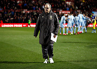 11th February 2020; Griffin Park, London, England; English Championship Football, Brentford FC versus Leeds United; Leeds United Manager Marcelo Bielsa approaching the dugout