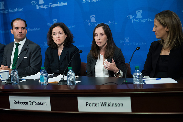 UNITED STATES - AUGUST 09: From left, Roman Martinez, Sarah Pitlyk, Rebecca Taibleson, and Porter Wilkinson, former law clerks for Supreme Court nominee Brett Kavanaugh, attend an event at the Heritage Foundation on August 9, 2018. (Photo By Tom Williams/CQ Roll Call)