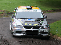 Dougal Brown / Lewis Rochford near Junction 10 on the Gleaner Oil & Gas Cooper Park Special Stage 2 of the Gleaner Oil & Gas Speyside Stages Rally 2012, Round 6 of the RAC MSA Scotish Rally Championship which was organised by The 63 Car Club (Elgin) Ltd and based in Elgin on 4.8.12..........