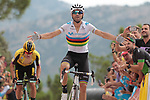 World Champion Alejandro Valverde (ESP) Movistar Team wins ahead of Primoz Roglic (SLO) Team Jumbo-Visma at the end of Stage 7 of La Vuelta 2019 running 183.2km from Onda to Mas de la Costa, Spain. 30th August 2019.<br /> Picture: Colin Flockton | Cyclefile<br /> <br /> All photos usage must carry mandatory copyright credit (© Cyclefile | Colin Flockton)