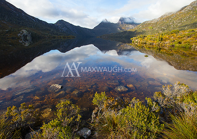 Dove Lake sits still during a morning in Cradle Mountain National Park.
