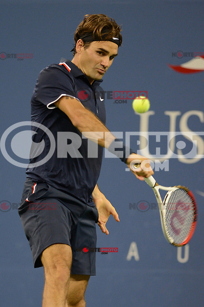 FLUSHING NY- SEPTEMBER 5: Roger Federer Vs Tomas Berdych on Armstrong stadium at the USTA Billie Jean King National Tennis Center on September 5, 2012 in in Flushing Queens. Credit: mpi04/MediaPunch Inc. ***NO NY NEWSPAPERS*** /NortePhoto.com<br />