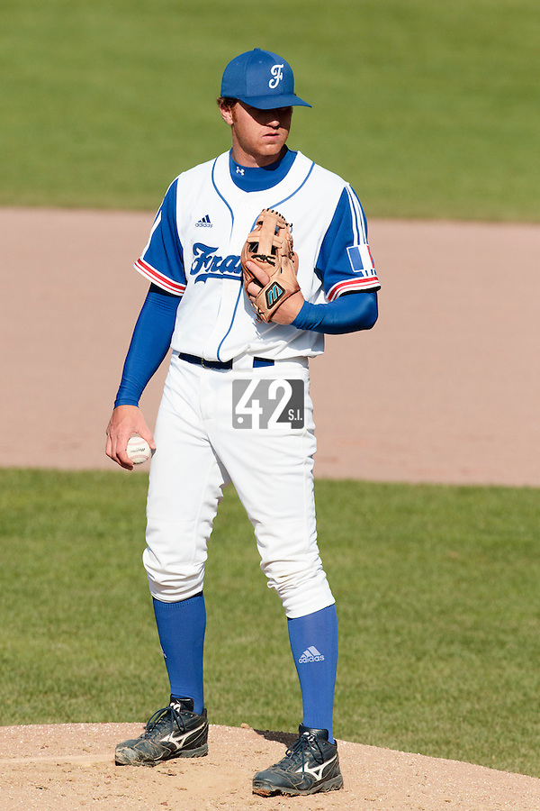 31 July 2010: Nicolas Dubaut of Team France pitches against Greece during the Greece 14-5 win over France, at the 2010 European Championship, in Heidenheim, Germany.
