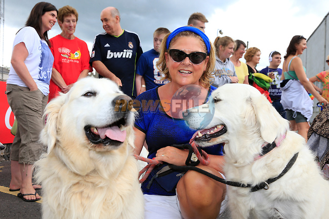 Yvonne Hillard with Baily and Tara at the dog walk<br /> Picture:  Fran Caffrey www.newsfile.ie
