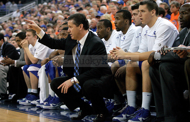 No. 2 UK head coach John Calipari gives out instructions from the sideline during the second half of the Cats' game against the University of Florida Gators on Tuesday, Jan. 12, 2009 at the Stephen C. O'Connell Center in Gainesville, Fla. The Cats defeated the Gators 89-77.