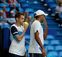 3rd January 2020; RAC Arena, Perth, Western Australia; ATP Cup Australia, Perth, Day 1,; USA v Norway Rajeev Ram and Austin Krajicek of the USA talk tactics during the doubles against team Norway - Editorial Use