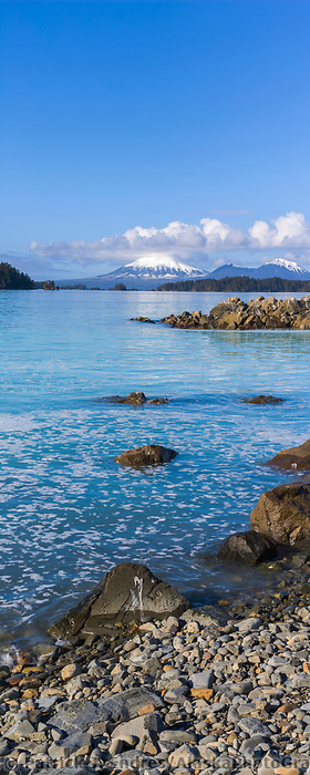 View of Mount Edgecumbe across Sitka Sound in Southeast, Alaska.