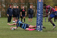 Coopers score their tenth try during Old Cooperians RFC vs Barking RFC, London 3 Essex Division Rugby Union at the Coopers Company and Coborn School on 14th March 2020