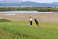 Philip Byrne (Ballybunion) and Alan Butler (Ennis) on the 8th green during the Munster Final of the AIG Junior Cup at Tralee Golf Club, Tralee, Co Kerry. 13/08/2017<br /> Picture: Golffile | Thos Caffrey<br /> <br /> <br /> All photo usage must carry mandatory copyright credit     (&copy; Golffile | Thos Caffrey)