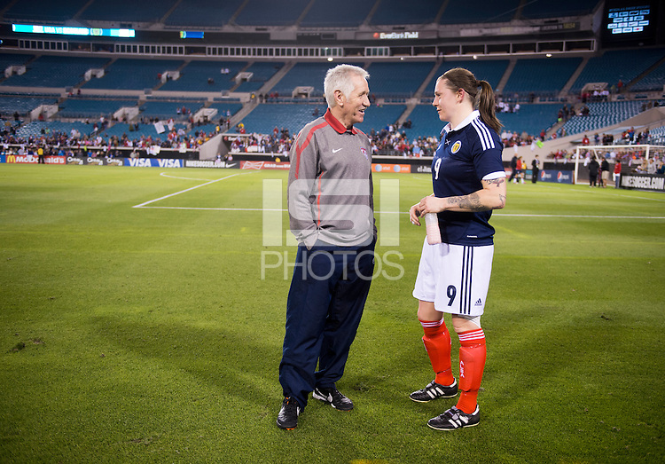 Tom Sermanni, Suanne Malone.  The USWNT defeated Scotland, 4-1, during a friendly at EverBank Field in Jacksonville, Florida.