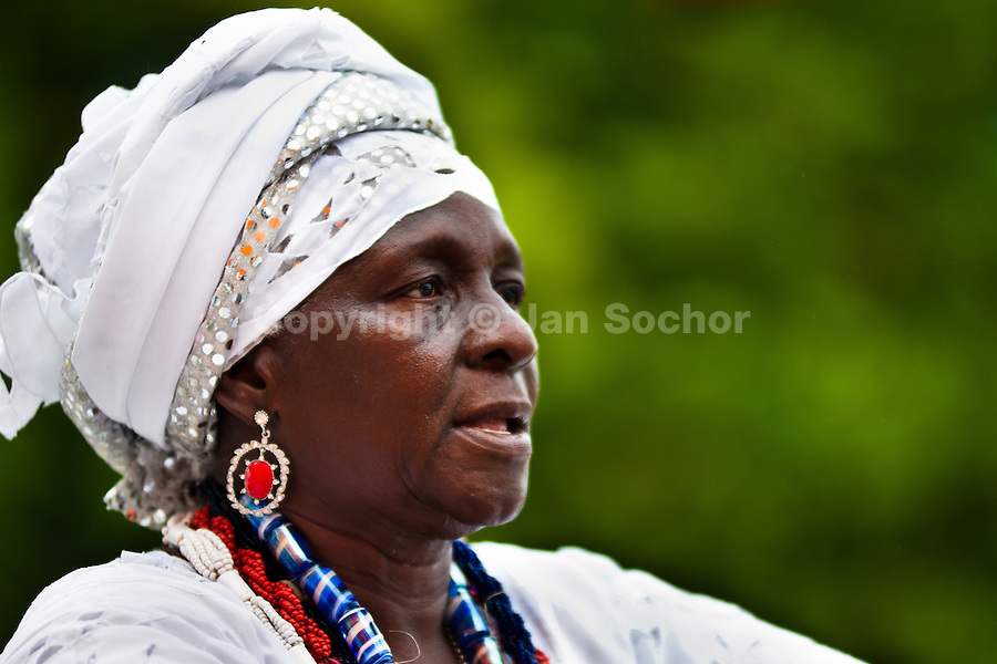 A priestess of Candomblé (Mãe-de-santo, iyalorishá) seen during the ritual in honor to Saint Lazarus in Salvador, Bahia, Brazil, 30 January 2012.
