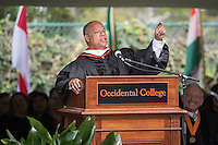 Secretary of Homeland Security Jeh Johnson delivers the principal address at Occidental College's 133rd Commencement at the Remsen Bird Hillside Theater, on Sunday, May 17, 2015.<br /> (Photo by Marc Campos, Occidental College Photographer)