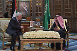 Palestinian President Mahmoud Abbas meets with Saudi Arabia's King Salman bin Abdulaziz in Riyadh, Saudi Arabia February 12, 2019. Photo by Thaer Ganaim