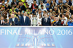 King Felipe VI of Spain (l) and the President of Spain Mariano Rajoy (r) during UEFA Champions League 2015/2016 Final match.May 28,2016. (ALTERPHOTOS/Acero)