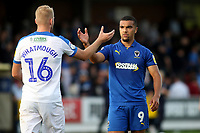 Jack Whatmough of Portsmouth shakes hands with AFC Wimbledon's Kwesi Appiah at the final whistle during AFC Wimbledon vs Portsmouth, Sky Bet EFL League 1 Football at the Cherry Red Records Stadium on 13th October 2018