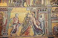 The Medieval mosaics of the ceiling of The Baptistry of Florence Duomo ( Battistero di San Giovanni ) showing a scene from the life of Mary,  started in 1225 by Venetian craftsmen in a Byzantine style and completed in the 14th century. Florence Italy