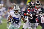 Dallas Cowboys running back Joseph Randle (35) and Houston Texans linebacker Willie Jefferson (63) in action during the pre-season game between the Houston Texans and the Dallas Cowboys at the AT & T stadium in Arlington, Texas. Houston leads Dallas 14 to 3 at halftime.