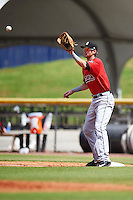 Birmingham Barons first baseman Danny Hayes (9) waits for a throw during a game against the Biloxi Shuckers on May 24, 2015 at Joe Davis Stadium in Huntsville, Alabama.  Birmingham defeated Biloxi 6-4 as the Shuckers are playing all games on the road, or neutral sites like their former home in Huntsville, until the teams new stadium is completed.  (Mike Janes/Four Seam Images)