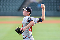 Starting pitcher Wes Parsons (30) of the Rome Braves before a game against the Greenville Drive on Thursday, August 22, 2013, at Fluor Field at the West End in Greenville, South Carolina. Rome won, 7-3. (Tom Priddy/Four Seam Images)