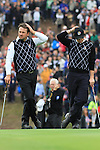 Graeme McDowell and Rory McIlroy on the 17th on day two Foursomes matches  on saturday afternoon at the 2010 Ryder Cup at the Celtic Manor twenty ten course, Newport Wales, 2/10/2010.Picture Fran Caffrey/www.golffile.ie.