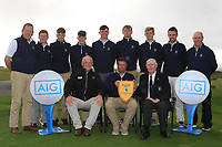 The Galway Team with the Connacht Pennant after winning the Connacht Final of the AIG Barton Shield at Galway Bay Golf Club, Galway, Co Galway. 11/08/2017<br /> <br /> Back Row:<br /> Kieran O'Mahony, Ronan Mullarney, Luke O'Neill, Liam Power, Sean Burke, Liam Nolan, Cathal Nolan, Stephen Brady and Joe Lyons.<br /> Front Row:<br /> Brendan McKenna (AIG), Gerry Cox (Team Captain) and Jim McGovern (Chairman Connacht Branch GUI).<br /> <br /> Picture: Golffile | Thos Caffrey<br /> <br /> All photo usage must carry mandatory copyright credit     (&copy; Golffile | Thos Caffrey)