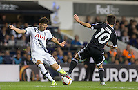 Dani Quintana of Qarabag FK attempts to stop a Son Heung-Min of Tottenham Hotspur shot at goal during the UEFA Europa League match between Tottenham Hotspur and Qarabag FK at White Hart Lane, London, England on 17 September 2015. Photo by Andy Rowland.