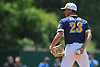 Brian Morrell #23, Shoreham-Wading River pitcher, peers in for the sign during the Class A varsity baseball Long Island Championship against Wantagh at SUNY Old Westbury on Saturday, June 3, 2017.
