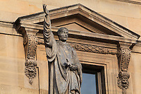 Statue of St Bernard or Bernard of Clairvaux, 1090-1153, abbot and founder of the Cistercian order, by Francois Jouffroy, at the Colbert Wing, in the Cour Napoleon at the Musee du Louvre, Paris, France. A series of 86 statues of famous men were placed in this courtyard 1853-57 under the architects Louis Visconti and Hector Lefuel. Picture by Manuel Cohen