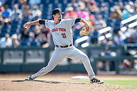 Texas Tech pitcher Caleb Freeman (31) delivers a pitch to the plate during Game 11 of the NCAA College World Series against the Michigan Wolverines on June 21, 2019 at TD Ameritrade Park in Omaha, Nebraska. Michigan defeated Texas Tech 15-3 and is headed to the CWS Finals. (Andrew Woolley/Four Seam Images)